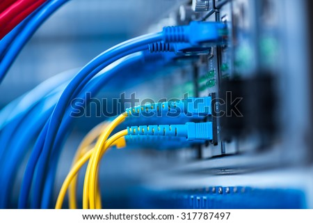 network cables installed in the rack #317787497