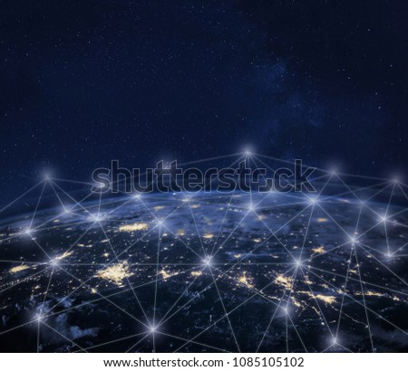 Network communication around Earth seen from space, global worldwide connection concept, international business technology, telecommunication, finance, IOT and crypto currency; planet image from NASA #1085105102