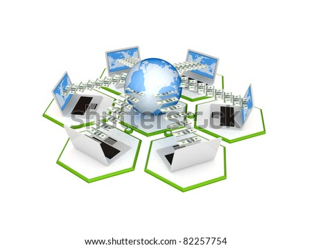 Network concept. 3d rendered. Isolated on white background.