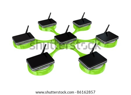 Network concept.Isolated on white background. 3d rendered.