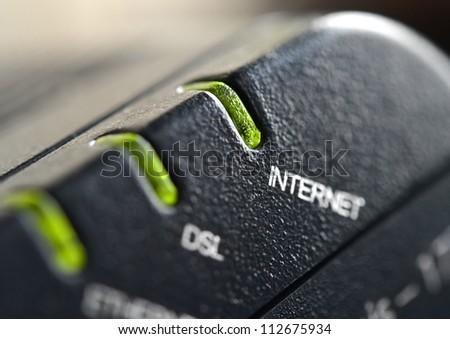 Network connection, DSL modem close up