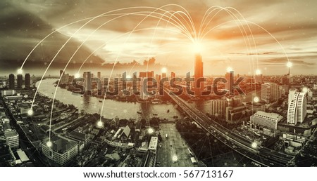Network connection line between building over top view of cityscape background. Network connection concept. #567713167