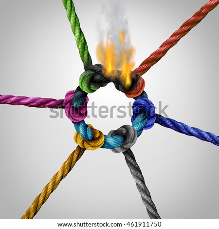 Network connection problem as a business risk concept with a group of diverse ropes burning and breaking the link as a metaphor for connectivity trouble and linking hazard or communication failure. #461911750
