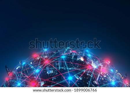 Network Connection technology and Smart city concept.5G network digital hologram and internet of things on city background.5G networking wireless systems.