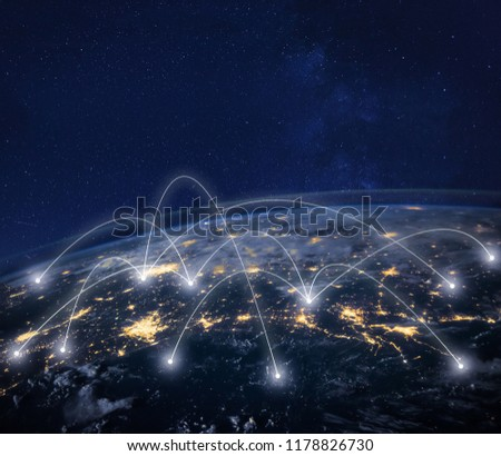 network connection technology, global business communication, planet image from NASA #1178826730