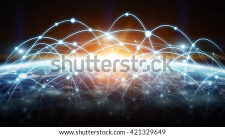 Network connections between different places of the world '3D rendering' 'elements of this image furnished by NASA'