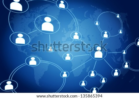network connections concept on blue background with world map