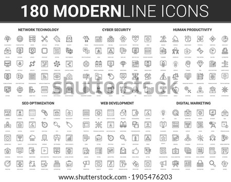 Network development technology illustration. Flat thin line modern abstract icon set of cyber data protection, developing human productivity, social marketing, seo optimization concept symbols
