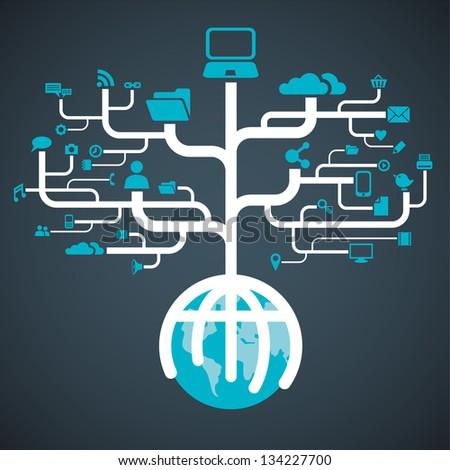 network globe media worldwide (Raster copy of vector)