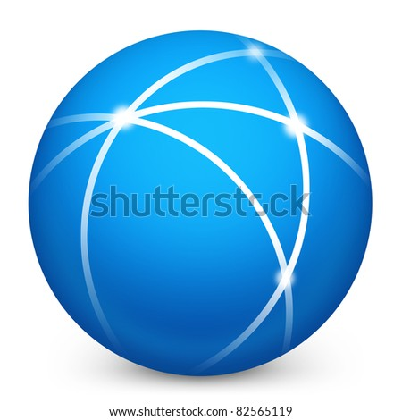 Network icon in blue on isolated white background. 3D render image and part of icon series.