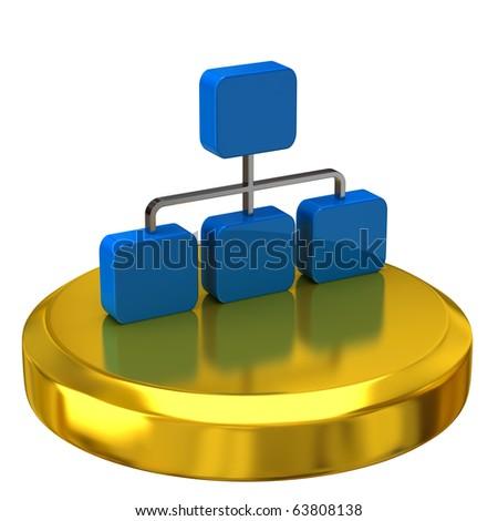Network icon on gold podium