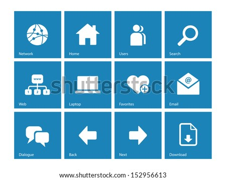 Network icons on blue background. See also vector version.
