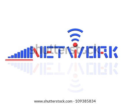 Network Logo Blue & red version,Isolated in white background