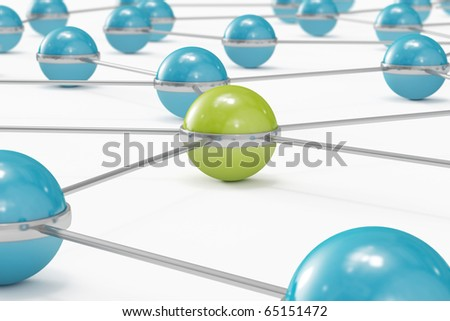 Network made out of blue balls with green one standing out close-up