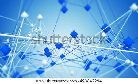 Network mesh. Low poly futuristic construction. Abstract network technology concept. 3D render illustration