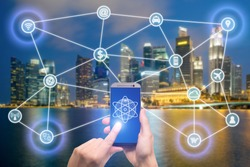 Network of connected mobile devices such as smart phone, tablet, thermostat or smart home. Internet of things and mobile computing concept.