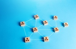 Network of connected staff blocks figurines by line. Unconventional company structure, distribution responsibilities between employees. High autonomy. Atypical hierarchical business system.