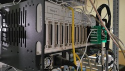 Network panel, switch and cable in data center