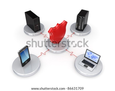 Network protection concept.Isolated on white background.3d rendered.