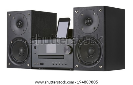 Network receiver system,digital usb, cd player and mp3 against white background Stock fotó ©
