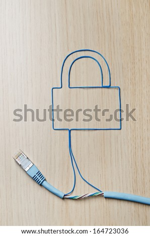 Network security. Blue ethernet cable shaping a padlock