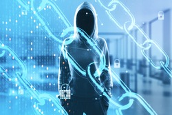 Network security concept with digital chain, binary code and locks and noface hacker on background. Double exposure