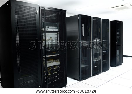 network server room with black servers