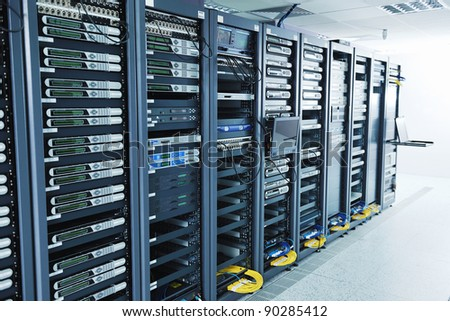 network server room with computers for digital tv ip communications and internet - stock photo