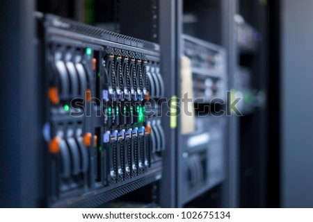 Network servers in a data center. Shallow depth of Field