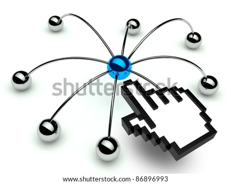 Network spider, Conception of communication with hand icon