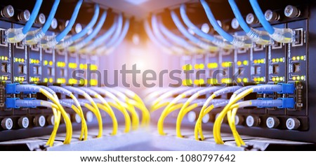 Network Switch and ethernet cables #1080797642