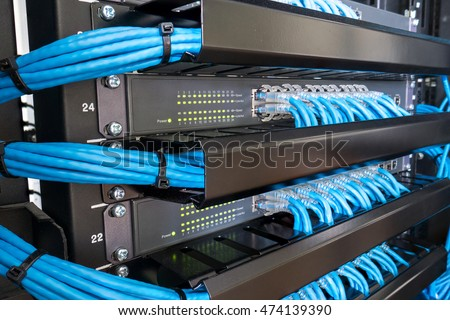 Free Network switch hub and ethernet cables in rack cabinet Photos ...