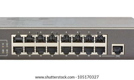 Network switch front panel with 16 ports and uplink port isolated