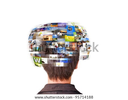 Network technology man has images rotating on his head.