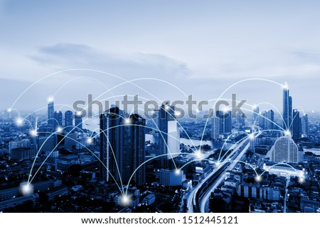Network Telecommunication and Communication Connect Concept, Connection 5G Networking System of Infrastructure and Cityscape at Night Scenery. Technology Digital Connectivity and Information Transfer