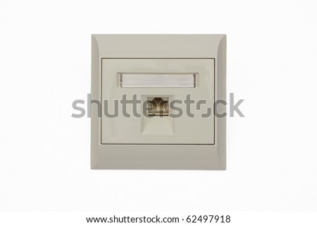 Network wall outlet isolated on white background