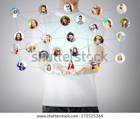 networking and communication concept - closeup of mans hands showing social network