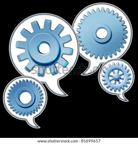 Networking and referrals represented by word bubbles with cogs and gears representing the social media concept of sharing information technology.