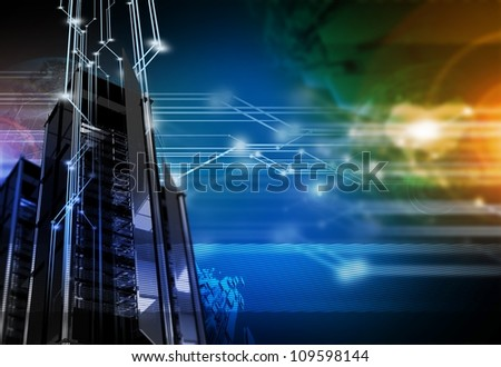 Networking Background - High Performance Servers / Hosting Networks Technology Theme. Technology Illustrations Collection