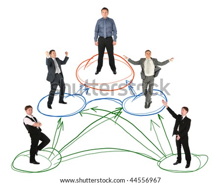 networking businessman drawing scheme on white background, collage