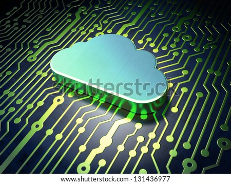 Networking concept: circuit board with Cloud icon, 3d render