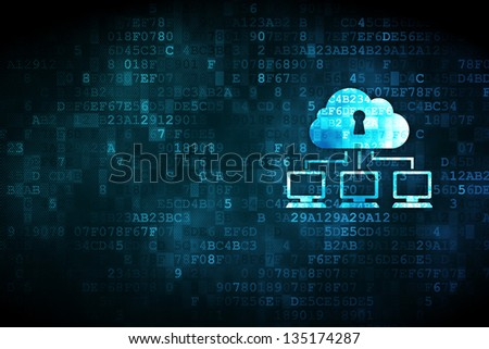 Networking concept pixelated cloud network icon on digital background