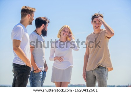 Networking concept. Spending time with friends. Communicative skills. Summer vacation. Men woman communicating sky background. Social interaction. Human communication. Cheerful people communicating.