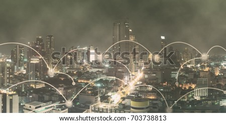 Networking connect technology abstract concept. Connecting dots with blur city business background. #703738813