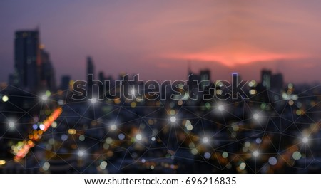 Networking connect technology abstract concept. Polygonal with connecting dots with blur city business background.    #696216835
