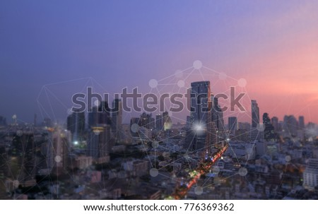 Networking connect technology abstract concept. Polygonal with connecting dots with city business twilight background. #776369362