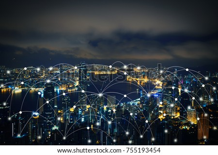 Networking connect technology abstract line connection on night city background #755193454