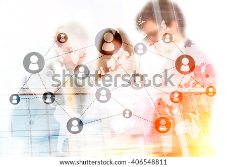 Networking system and businesspeople. Double exposure