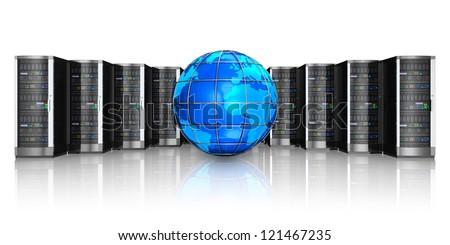 Networking, web cloud computing and telecommunication service internet concept: row of black network servers with blue glossy Earth globe world map isolated on white background with reflection effect
