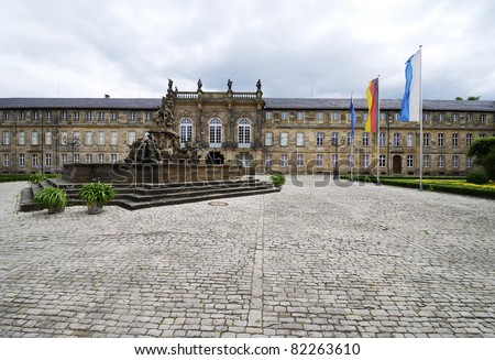 Neues Schloss (New Palace) in Bayreuth (Germany), built 1753. View from Ludwigstrasse. - stock photo